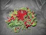 Christmas centerpiece with candle in Joliet, Illinois