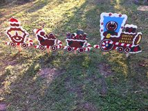 gingerbread train  yard decor in Fort Polk, Louisiana