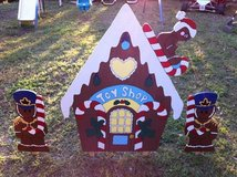 gingerbread toy shop yard decor in Fort Polk, Louisiana