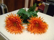 2 Gigantic Orange Silk Flowers For Fall in Kingwood, Texas